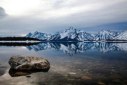 """Jackson Lake, Grand Tetons, Reflection, Coulter Bay, Grand Teton National Park<br /> <br /> For production prints or stock photos click the Purchase Print/License Photo Button in upper Right; for Fine Art """"Custom Prints"""" contact Daryl - 208-709-3250 or dh@greater-yellowstone.com"""