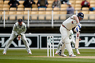 Yorkshire Alex Lees  gets an edge during the Specsavers County Champ Div 1 match between Warwickshire County Cricket Club and Yorkshire County Cricket Club at Edgbaston, Birmingham, United Kingdom on 24 April 2016. Photo by Simon Davies.