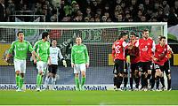 2:2 Jubel v.l. Makoto Hasebe (Wolfsburg), Chris, Torwart Diego Benaglio, Patrick Ochs, Malik Fathi, Torschuetze Eric Maxim Choupo-Moting, Jan Kirchhoff, Andreas Ivanschitz<br /> <br /> <br /> Bundesliga, VfL Wolfsburg - FSV Mainz 05<br /> <br /> Norway only