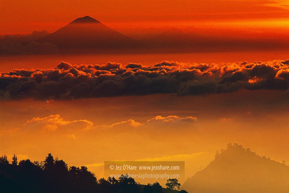 Mount Agung 3412m, Bali & The Gili Isles seen from Mount Rinjani 3726m, Lombok, West Nusa Tenggara, Indonesia.