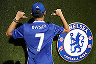a Chelsea fan wearing a Ngolo Kante of Chelsea shirt outside Stamford Bridge before k/o. Premier league match, Chelsea v West Ham United at Stamford Bridge in London on Monday 15th August 2016.<br /> pic by John Patrick Fletcher, Andrew Orchard sports photography.