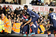 Ayoze Perez of Newcastle United celebrates with his teammates after he scores his teams 2nd goal to make it 1-2. Barclays Premier league match, Tottenham Hotspur v Newcastle Utd at White Hart Lane in London on Sunday 13th December 2015.<br /> pic by John Patrick Fletcher, Andrew Orchard sports photography.