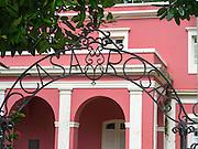 Sign in front of the Casa Rosa, Viejo San Juan, Puerto Rico.