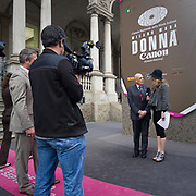 Mario Boelli, presidente della Camera Nazionale della Moda Italiana, intervistato da una televisione tedesca.<br /> <br /> Mario Boselli, president of the National Chamber for Italian Fashion, interviwed from a german television.
