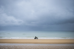 History enthusiasts on a military motorcycle drive on Omaha Beach in Vieille sur Mer, France, 04 June 2019. World leaders are to attend memorial events in Normandy, France on 06 June 2019 to mark the 75th anniversary of the D-Day landings, which marked the beginning of the end of World War II in Europe. Photo by Eliot Blondet/ABACAPRESS.COM