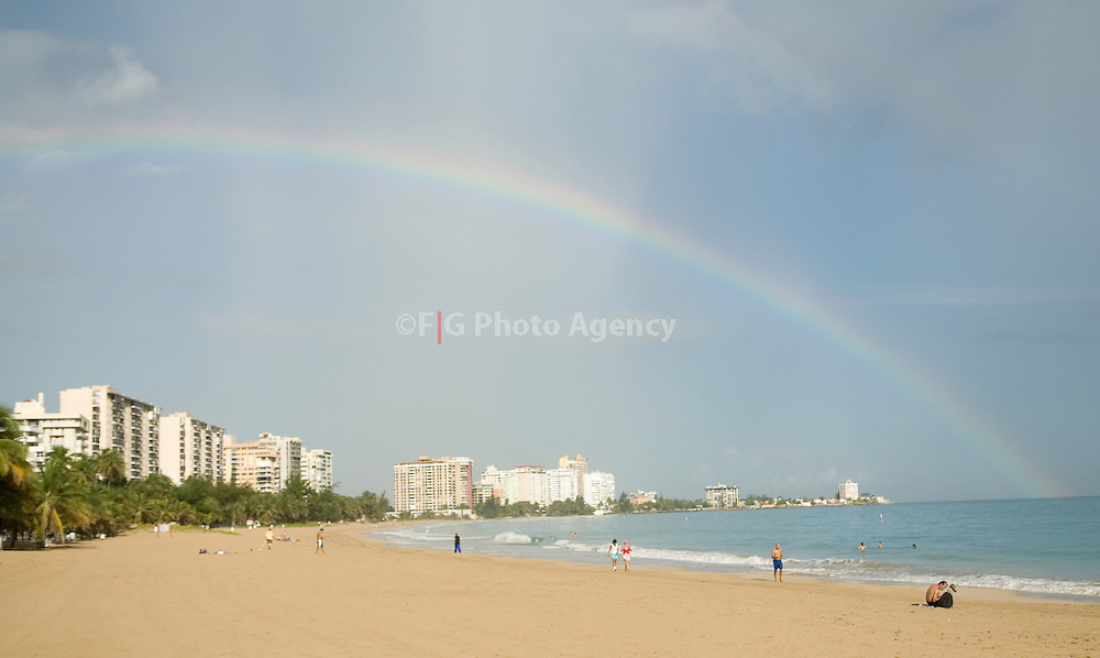 Carolina, Puerto Rico-Rainbow at the Alambique Beach in the Isla Verde Area in Carolina, Puerto Rico.