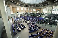 """25 MAR 2020, BERLIN/GERMANY:<br /> Uebersicht Plenarsaal - Um das Abstandsgebot zu beachten, ist nur jder dritte Platz in den Abgeordnentenreihen besetzt, Bundestagsdebatte zu """"COVID 19 - Kreditobergrenzen, Nachtragshaushalt, Wirtschaftsfonds"""", Plenum, Reichstagsgebaeude, Deutscher Bundestag<br /> IMAGE: 20200325-01-010<br /> KEYWORDS: Pandemie, Corona, Sitzung, Debatte, Übersicht"""