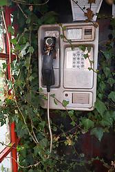 Disused telephone box outside Bangor Wales