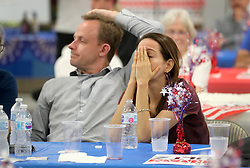 At a watch party for U.S. Rep. Debbie Wasserman Schultz (D-Fla.) Stewart Robertson and Luisa Arbelaez watch election results come in for other Democrat candidates, at her campaign's headquarters in Davie, Fla., on Tuesday, Nov. 6, 2018. Photo by Mike Stocker/Sun Sentinel/TNS/ABACAPRESS.COM