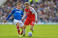 Portsmouth Midfielder, Stuart O'Keefe (7) tackles Fleetwood Town Midfielder, George Glendon (18) during the EFL Sky Bet League 1 match between Portsmouth and Fleetwood Town at Fratton Park, Portsmouth, England on 16 September 2017. Photo by Adam Rivers.