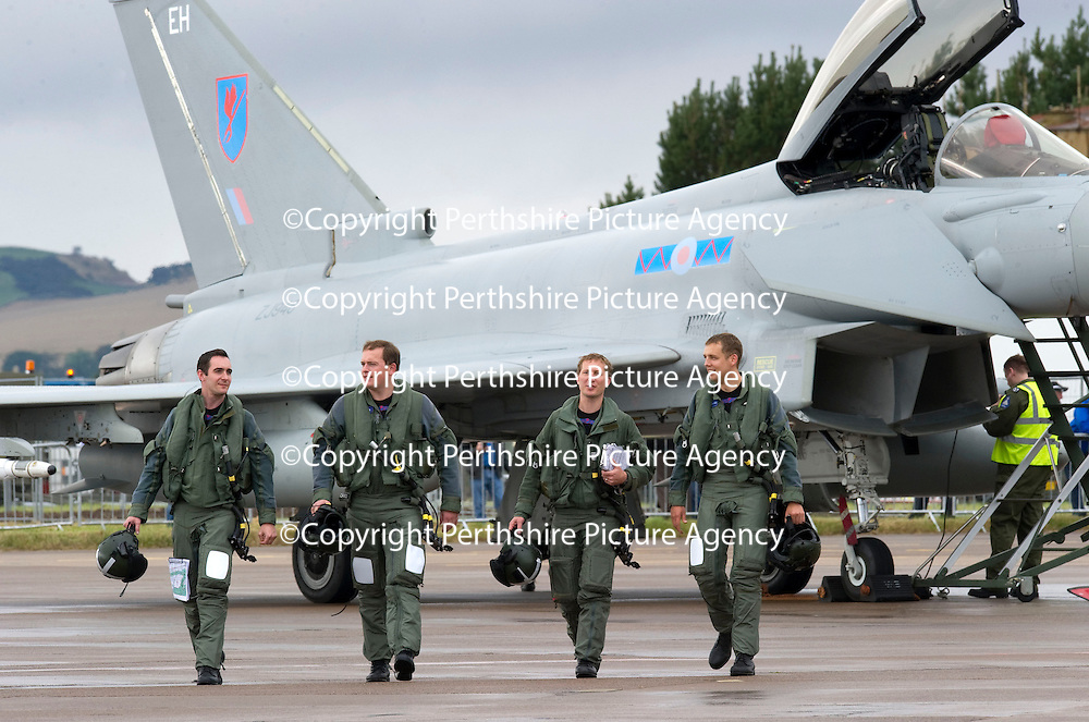 RAF Leuchars Airshow Preview...10.09.10 No 6 Squadron Typhoons Arrive....<br /> The pilots who flew in the first four Typhoon FGR4 to RAF Leuchars this morning from left, Flight Lieutentant Alex Tennant, Flight Lieutenant Paul Gardiner, Squadron Leader Michael Lea and Flight Lieutenant Bruce McConnell from Prestwick which marks the start of the arrival of 6 Squadron which will be the first Typhoon Squadron based at Leuchars. At the airshow tomorrow 6 Squadron's Standard will be paraded to the Chief of the Air Staff with a flypast of a Typhoon, Spitfire and Tornado F3 which the Typhoon is replacing.<br /> see story by Maureen Young 07778 779888 or 01764 663191<br /> Picture by Graeme Hart.<br /> Copyright Perthshire Picture Agency<br /> Tel: 01738 623350  Mobile: 07990 594431