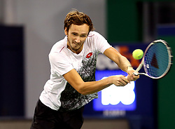 SHANGHAI, Oct. 10, 2018  Russia's Daniil Medvedev hits a return during the men's singles second round match against Switzerland's Roger Federer at the Shanghai Masters tennis tournament on Oct. 10, 2018. (Credit Image: © Fan Jun/Xinhua via ZUMA Wire)