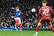 Ronan Curtis (11) of Portsmouth shoots at goal during the EFL Sky Bet League 1 match between Portsmouth and Ipswich Town at Fratton Park, Portsmouth, England on 21 December 2019.