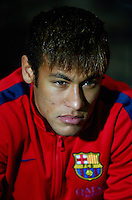 CARTAGENA, SPAIN - DECEMBER 06:  Neymar of Barcelona sits on the substitutes bench prior to start the Copa del Rey, Round of 32 match between FC Cartagena and FC Barcelona at Estadio Cartagonova on December 06, 2013 in Cartagena, Spain.  (Photo by Manuel Queimadelos Alonso/Getty Images)