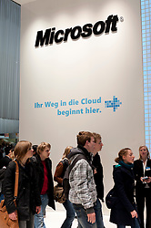 Microsoft area with cloud computing message at CeBIT 2011 digital and electronics trade fair in Hannover March 2011 Germany