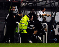 Photo: Jed Wee.<br /> Newcastle United v Celta Vigo. UEFA Cup. 23/11/2006.<br /> <br /> Newcastle's Steven Taylor (R) runs past manager Glenn Roeder in celebration after scoring the winner.