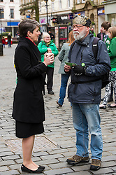 Pictured: Maggie Chapman was rallying the Green troops in Falkirk<br /> <br /> As part of her visit to Scotland to support Greens candidates in the Scottish election, Green MP Caroline Lucas joined Scottish Greens colleagues Maggie Chapman, Greens co-convener, Mark Ruskell, candidate for Mid Scotland and Fife, Kirsten Robb, candidate for Central Scotland and John Wilson, candidate for Central Scotland, to meet anti-fracking campaigners in Falkirk <br /> <br /> Ger Harley | EEm 29 April 2016