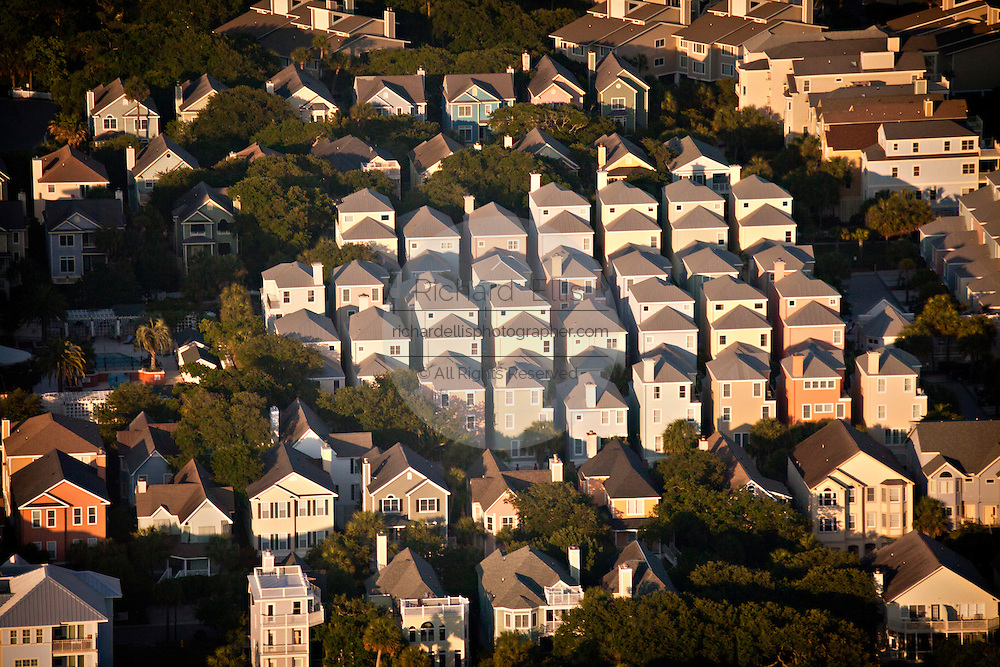 Aerial view of beach cottages on Isle of Palms, SC