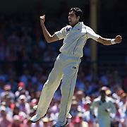 Umar Gul celebrates after dismissing Shane Watson during the Australia V Pakistan 2nd Cricket Test match at the Sydney Cricket Ground, Sydney, Australia, 5 January 2010. Photo Tim Clayton