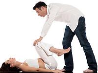 caucasian couple expecting baby breathe exercise isolated studio on white background
