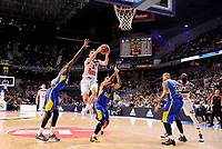 Real Madrid's Rudy Fernandez and Maccabi Fox's Quincy Miller and Maik Zirbes during Turkish Airlines Euroleague match between Real Madrid and Maccabi at Wizink Center in Madrid, Spain. January 13, 2017. (ALTERPHOTOS/BorjaB.Hojas)
