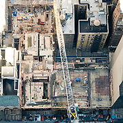 Aerial photograph of construction work at Carnegie 57.