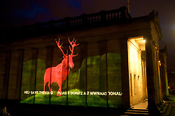 National Galleries of Scotland (NGS) projecting a specially-commissioned animation of a monarch-like stag on to the building launching a public fundraising campaign to raise the remaining sum required to secure the acquisition of The Monarch of the Glen, c.1851 by Sir Edwin Landseer. 16th February, 2017. (c) Brian Anderson | Edinburgh Elite media