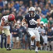 NEW HAVEN, CONNECTICUT - NOVEMBER 18: JP Shohfi #88 of Yale in action during the Yale V Harvard, Ivy League Football match at the Yale Bowl. Yale won the game 24-3 to win their first outright league title since 1980. The game was the 134th meeting between Harvard and Yale, a historic rivalry that dates back to 1875. New Haven, Connecticut. 18th November 2017. (Photo by Tim Clayton/Corbis via Getty Images)