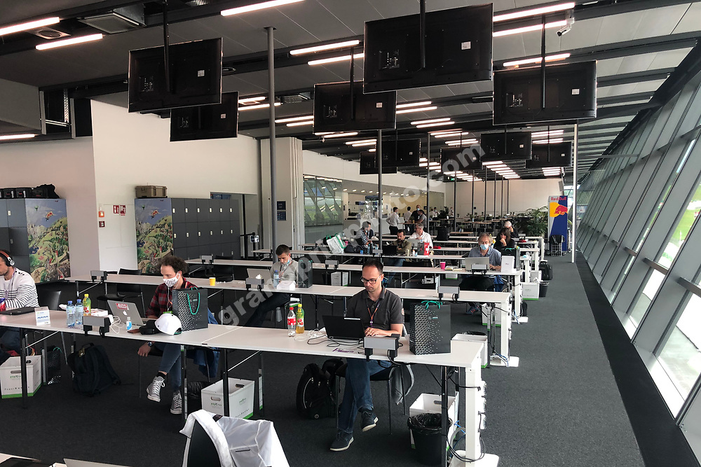 Media centre at the 2020 Austrian Grand Prix at the Red Bull Ring in Spielberg. Photo: Grand Prix Photo