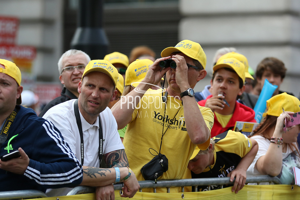 Fan using binoculars to get a better view during the London Stage of the Aviva Tour of Britain, Regent Street, London, United Kingdom on 13 September 2015. Photo by Ellie Hoad.