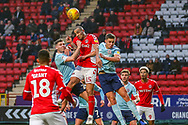 Charlton Athletic midfielder Darren Pratley (15) heads the ball during the EFL Sky Bet League 1 match between Charlton Athletic and Accrington Stanley at The Valley, London, England on 19 January 2019.