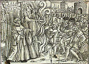The martyrdom of Thomas Cranmer, Archbishop of Canterbury at Oxford, 21 March 1556.  Responsible for the liturgy of the Protestant Church of England and author of 'The Book of Common Prayer' Under the Roman Catholic Mary I, Bloody Mary, Cranmer was found guilty of treason and heresy and burned at the stake. Wodcut from 'Book of Martyrs' by John Foxe, 1563.