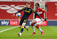 Stoke City's Jack Clarke shields the ball from Middlesbrough's Djed Spence <br /> <br /> Photographer Alex Dodd/CameraSport<br /> <br /> The EFL Sky Bet Championship - Middlesbrough v Stoke City - Saturday 13th March 2021 - Riverside Stadium - Middlesbrough<br /> <br /> World Copyright © 2021 CameraSport. All rights reserved. 43 Linden Ave. Countesthorpe. Leicester. England. LE8 5PG - Tel: +44 (0) 116 277 4147 - admin@camerasport.com - www.camerasport.com