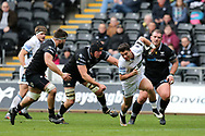Adam Hastings of Glasgow Warriors breaks free of his Ospreys tacklers to run in and score his teams 1st try. Guinness Pro14 rugby match, Ospreys v Glasgow Warriors Rugby at the Liberty Stadium in Swansea, South Wales on Sunday 26th November 2017. <br /> pic by Andrew Orchard, Andrew Orchard sports photography.