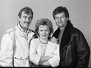 """Irish National Song Contest..1985..08.02.1985..02.08.1985..8th February 1985..Battling to represent Ireland in Gothenburg at the Eurovision Song Contest the following singers took to the stage at R.T.E. Studios, Dublin. .Jody Mc Stravick,Maria Christian,.Marion Fossett,Jane Cassidy,Carol Anne,.Jacinta Whyte,Mike Sherrard and Trish O'Brien..The National winner was Maria Christian,singing """"Wait until the weekend comes"""". She went on to finish a commendable sixth, behind the winners Norway, in the Eurovision Final...Image of Jody Mc Stravick taken prior to him singing """"Couldn't live my life"""", in the National Song Contest.."""