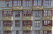 A detail of the Cubist Houses in the Jewish Quarter of Prague, Czech Republic.