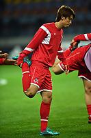 Fußball: Europa League, BATE Borissow - 1. FC Köln, Gruppenphase, Gruppe H, 3. Spieltag am 19.10.2017 in der  Baryssau Arena in Borissow (Weißrussland). Borissows #bo und der Kölner #k versuchen den Ball zu spielen.