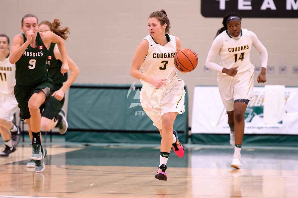5th year guard Katie Polischuk (3) of the Regina Cougars in action during the home game on December  2 at Centre for Kinesiology, Health and Sport. Credit: Arthur Ward/Arthur Images