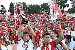 May 20, 2018 - Lisbon, Portugal - Aves' forward Alexandre Guedes (L) celebrates with the trophy after winning the Portugal Cup Final football match CD Aves vs Sporting CP at the Jamor stadium in Oeiras, outskirts of Lisbon, on May 20, 2015. (Aves won 2-1) (Credit Image: © Pedro Fiuza/NurPhoto via ZUMA Press)