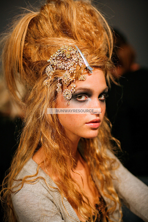 Erin Heatherton Backstage at Christian Lacroix Couture Fall 2007