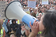 Speakers address to the crowds of protestors during a 'We Do Not Consent' rally at Trafalgar Square, organised by Stop New Normal, to protest against coronavirus restrictions, in London on Saturday, Sept. 26, 2020. (VXP Photo/ Gio Strondl)