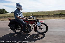Joe Gimpel of Florida riding his Class-1 single-cylinder single-speed 1913 Thor during the Motorcycle Cannonball Race of the Century. Stage-8 from Wichita, KS to Dodge City, KS. USA. Saturday September 17, 2016. Photography ©2016 Michael Lichter.