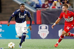 September 22, 2018 - Foxborough, MA, U.S. - FOXBOROUGH, MA - SEPTEMBER 22: New England Revolution midfielder Luis Caicedo (27) moves past Chicago Fire midfielder Djordje Mihailovic (14) during a match between the New England Revolution and the Chicago Fire on September 22, 2018, at Gillette Stadium in Foxborough, Massachusetts. The teams played to a 2-2 draw. (Photo by Fred Kfoury III/Icon Sportswire) (Credit Image: © Fred Kfoury Iii/Icon SMI via ZUMA Press)