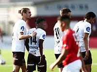 Fotball ,  OBOS-Ligaen<br /> 13.05.18<br /> Gjemselund kunstgress<br /> Kongsvinger v Mjøndalen<br /> Foto :  Dagfinn Limoseth , Digitalsport<br /> Vamouti Diomande , Mjøndalen gratuleres