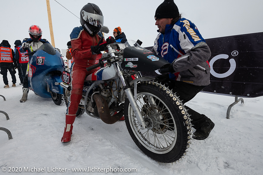 Bene Zaccherini of Italy about to take her first pass on the ice on her spiked Husqvarna WR 360 on the 1/8 mile qualifying track at the Baikal Mile Ice Speed Festival. Maksimiha, Siberia, Russia. Thursday, February 27, 2020. Photography ©2020 Michael Lichter.