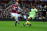 Raheem Sterling of Manchester city ® is challenged by Alan Hutton of Aston Villa. Barclays Premier league match, Aston Villa v Manchester city at Villa Park in Birmingham, Midlands  on Sunday 8th November 2015.<br /> pic by  Andrew Orchard, Andrew Orchard sports photography.