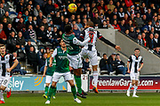 Simeon Jackson of St Mirren out jumps Efe Ambrose of Hibernian FC during the Ladbrokes Scottish Premiership match between St Mirren and Hibernian at the Simple Digital Arena, Paisley, Scotland on 29th September 2018.