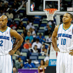 December 21, 2011; New Orleans, LA, USA; New Orleans Hornets point guard Jarrett Jack (2) and shooting guard Eric Gordon (10) on the court during the second quarter of a preseason game at the New Orleans Arena.  The Hornets defeated the Grizzlies 95-80.  Mandatory Credit: Derick E. Hingle-US PRESSWIRE