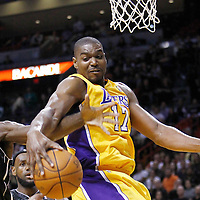 19 January 2012: Los Angeles Lakers center Andrew Bynum (17) vies for the rebound with Miami Heat center Joel Anthony (50) during the first all of NBA game Los Angeles Lakers at Miami Heat, at the AmericanAirlines Arena, Miami, Florida, USA.