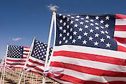 Closeup of waving American flags<br />